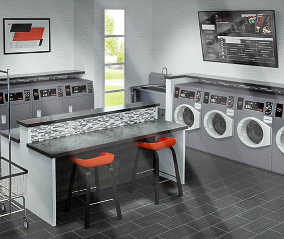 Illustration: modern collective laundry room equipped with Speed Queen professional washers and dryers