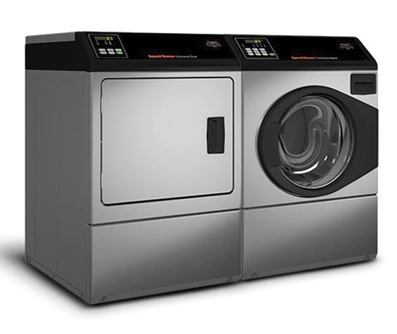 Paired Speed Queen professional dryer and front-load washer