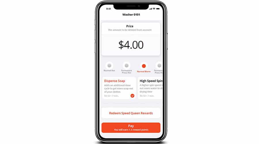 Illustration: Speed Queen customer app allows mobile payment for laundry users